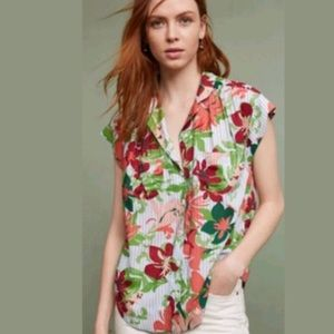 Maeve Raffine Hawaiian Floral Stripe Button Up Top